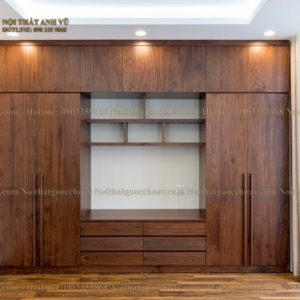 tủ quần áo gỗ óc chó avta004-1