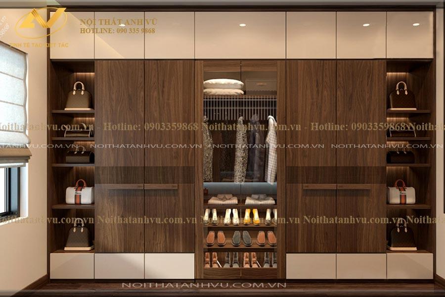 Tủ tường đẹp bằng gỗ óc chó AV-TA 001 - Nội thất Anh Vũ