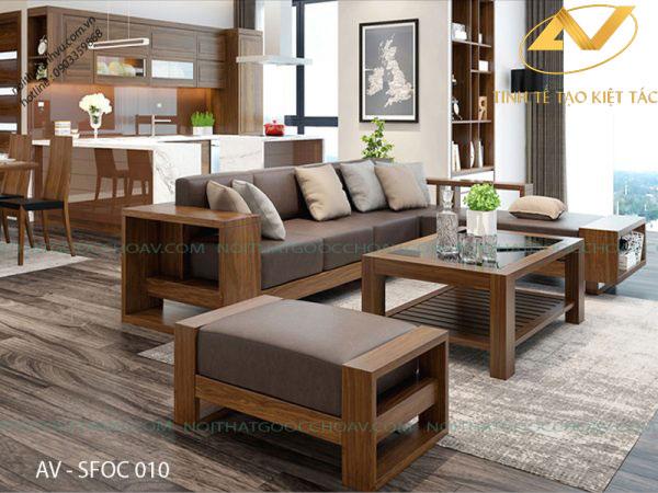 mẫu ghế sofa gỗ óc chó có thiết kế khỏe khoắn hiện đại