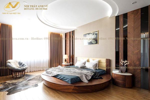 Giường tròn gỗ óc chó cao cấp 004 - Nội thất Anh Vũ