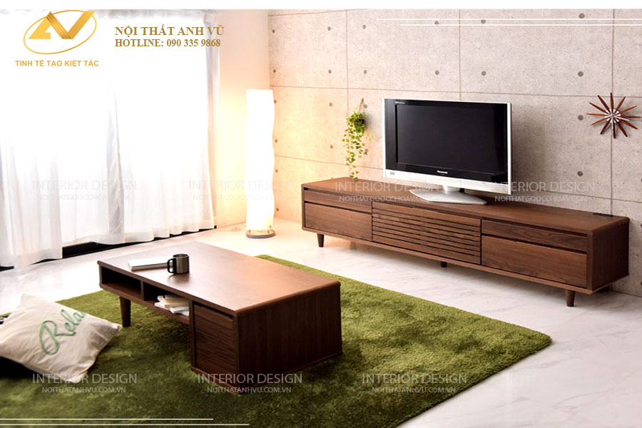 Kệ tủ tivi gỗ óc chó cao cấp AV-KTV 003 - Nội thất Anh Vũ