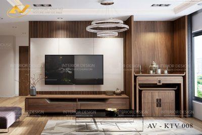 Mẫu kệ tivi gỗ tự nhiên óc chó AV-KTV 008 - Nội thất Anh Vũ