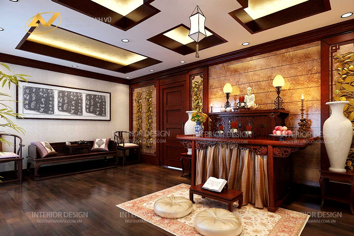 phòng thờ đẹp gỗ óc chó AV-PT 006 - Nội thất Anh Vũ