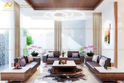 Sofa gỗ chữ U óc chó đẹp 002 - Nội thất Anh Vũ