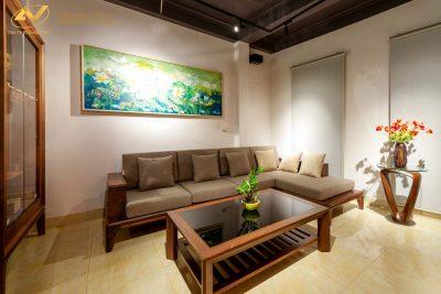 Sofa gỗ chữ L gỗ óc chó đẹp 003 - Nội thất Anh Vũ