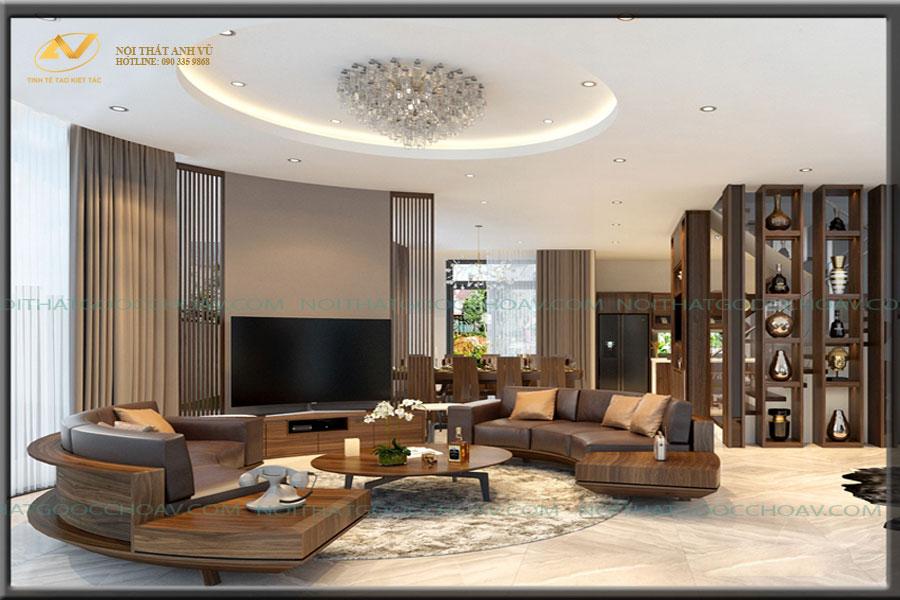 Sofa tròn gỗ óc chó cao cấp AV-SF 013 - Nội thất Anh Vũ