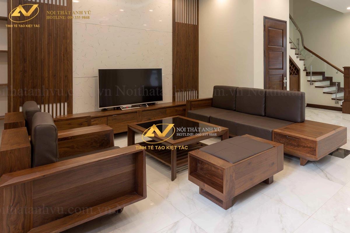 Bộ bàn ghế gỗ óc chó đẹp 018 - Nội thất Anh Vũ