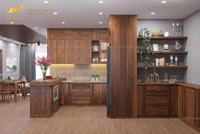 Tủ bếp đẹp hiện đại gỗ óc chó AV-TB 005 - Nội thất Anh Vũ