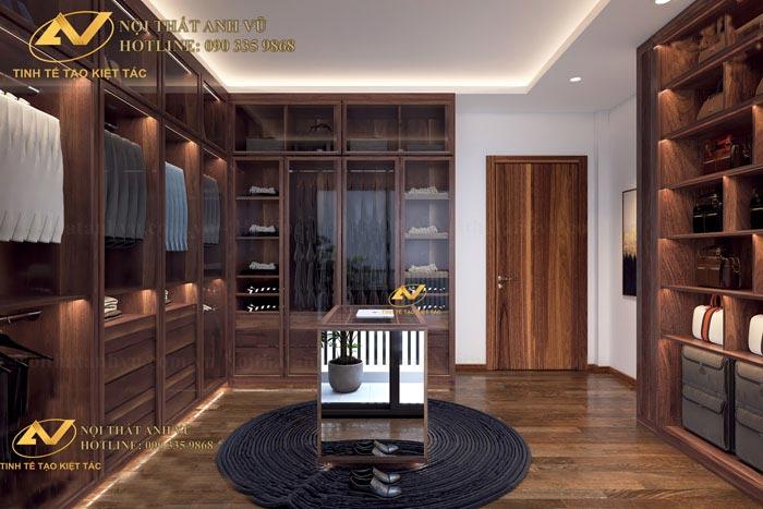 Tủ quần áo gỗ óc chó - Nội thất Anh Vũ