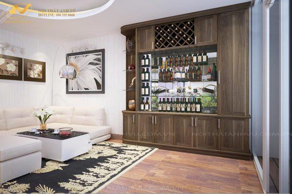 Tủ rượu bằng gỗ óc chó AV-TR 004 - Nội thất Anh Vũ
