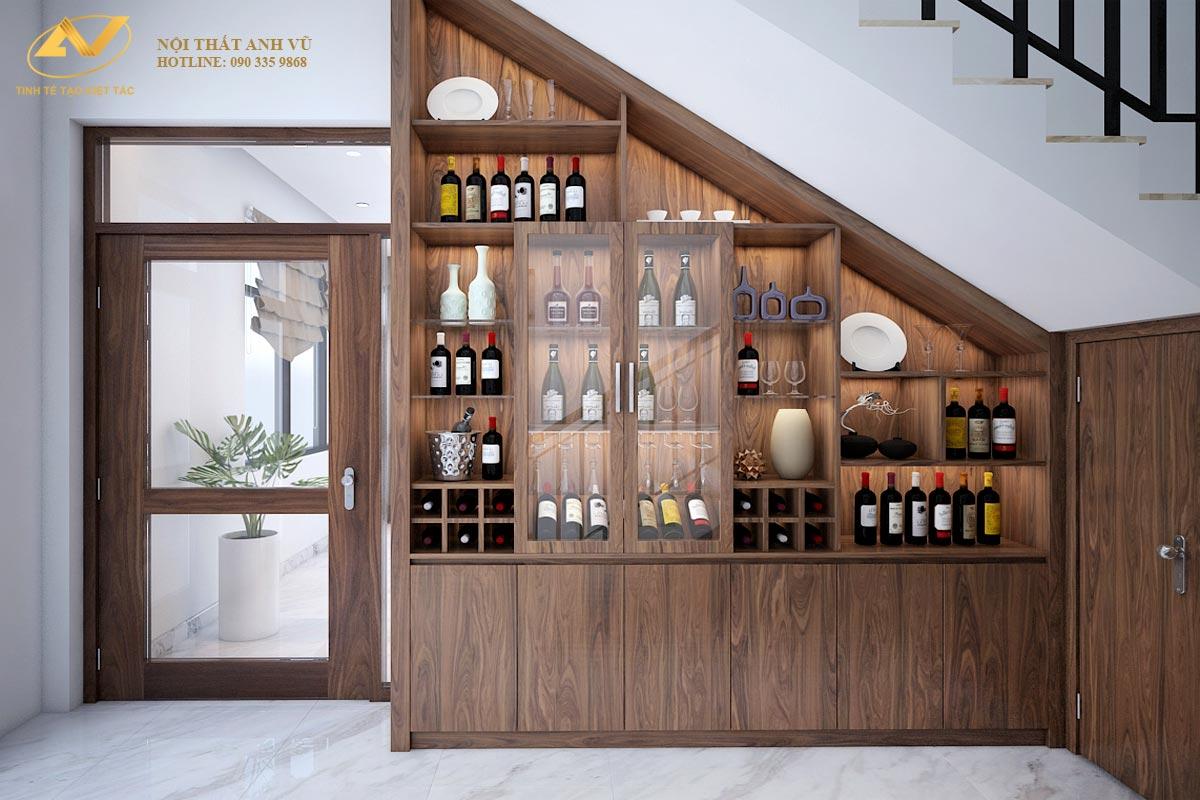 Tủ rượu vang gỗ óc chó AV-TR 006 - Nội thất Anh Vũ