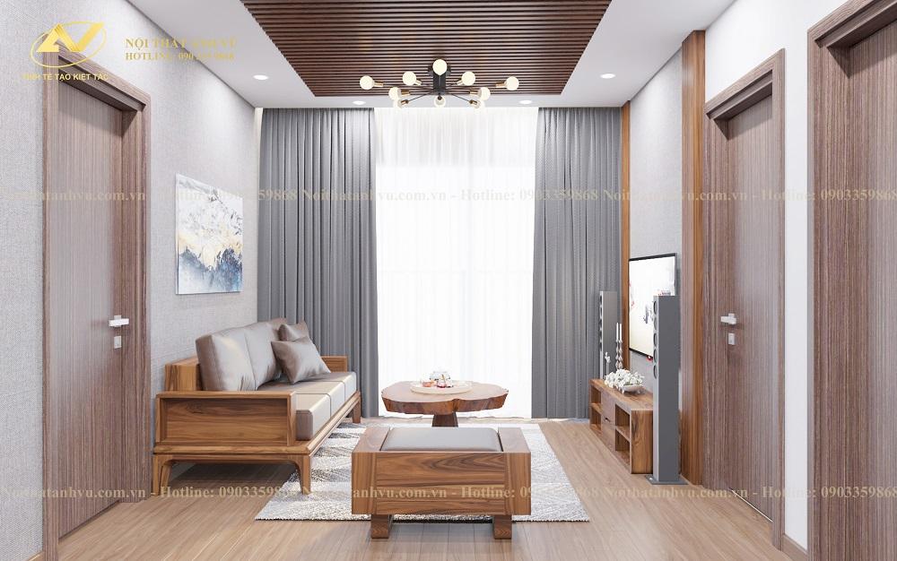 Thiết kế nội thất chung cư gỗ óc chó Mr. Phước - Nội thất gỗ óc chó Anh Vũ
