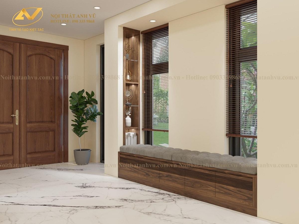 Thiết kế nội thất biệt thự Vinhome - Nội thất gỗ óc chó