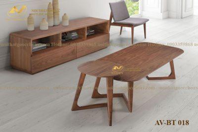 Bàn trà gỗ thấp chữ nhật AV-BT 018 - Nội thất gỗ óc chó Anh Vũ