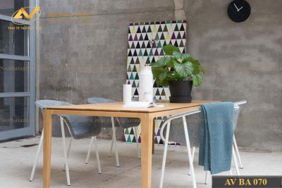 Mẫu bàn ăn gỗ hình chữ nhật - Nội thất gỗ óc chó Anh Vũ