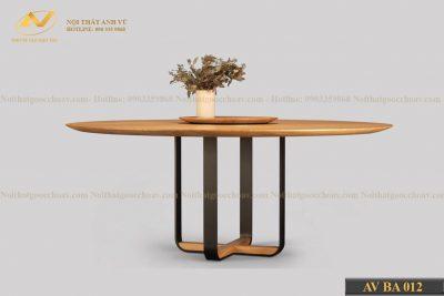 Bàn ăn hình tròn bằng gỗ AV-BA 012 - Nội thất gỗ óc chó cao cấp