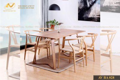 Bộ bàn ăn phong cách Bắc Âu AV-BA 028 - Nội thất gỗ óc chó Anh Vũ