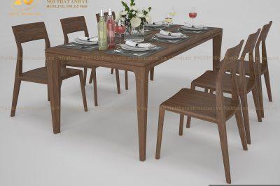Mẫu bàn ăn hình chữ nhật đẹp AV-BA 002 - Nội thất gỗ óc chó Anh Vũ