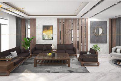 Mẫu ghế sofa gỗ óc chó cao cấp AV-BA 099 - Nội thất gỗ óc chó Anh Vũ