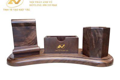 Hộp bút gỗ để bàn khắc tên - Nội thất gỗ óc chó Anh Vũ