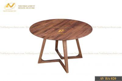Bàn ăn gỗ hình tròn AV-BA 020 - Nội thất gỗ óc chó cao cấp Anh Vũ