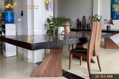 Bàn ăn gỗ tự nhiên nguyên tấm AV-BA 888 - Nội thất gỗ óc chó cao cấp Anh Vũ