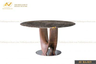 Bộ bàn ăn tròn mặt đá AV-BA 019 - Nội thất gỗ óc chó cao cấp Anh Vũ