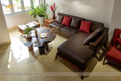 Ghế sofa gỗ Óc chó da cao cấp 014 - Nội thất gỗ óc chó