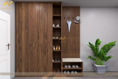 Tủ giày cửa lùa gỗ óc chó đẹp 003 - Nội thất Anh Vũ